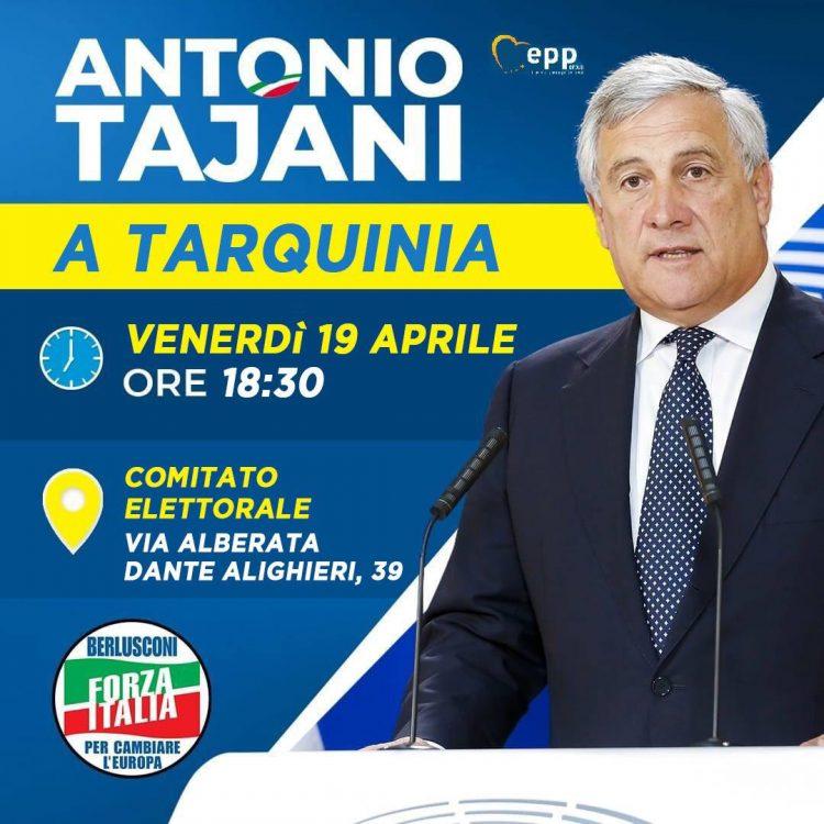 Antonio Tajani oggi a Tarquinia per sostenere Moscherini