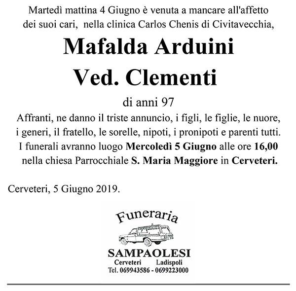 MAFALDA ARDUINI Ved. CLEMENTI di anni 97