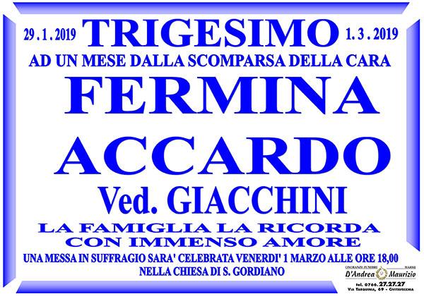 FERMINA ACCARDO Ved. GIACCHINI – Trigesimo