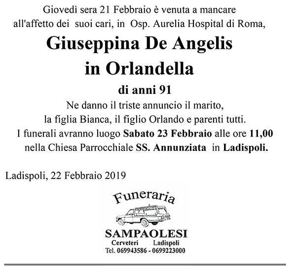GIUSEPPINA DE ANGELIS in ORLANDELLA di anni 91