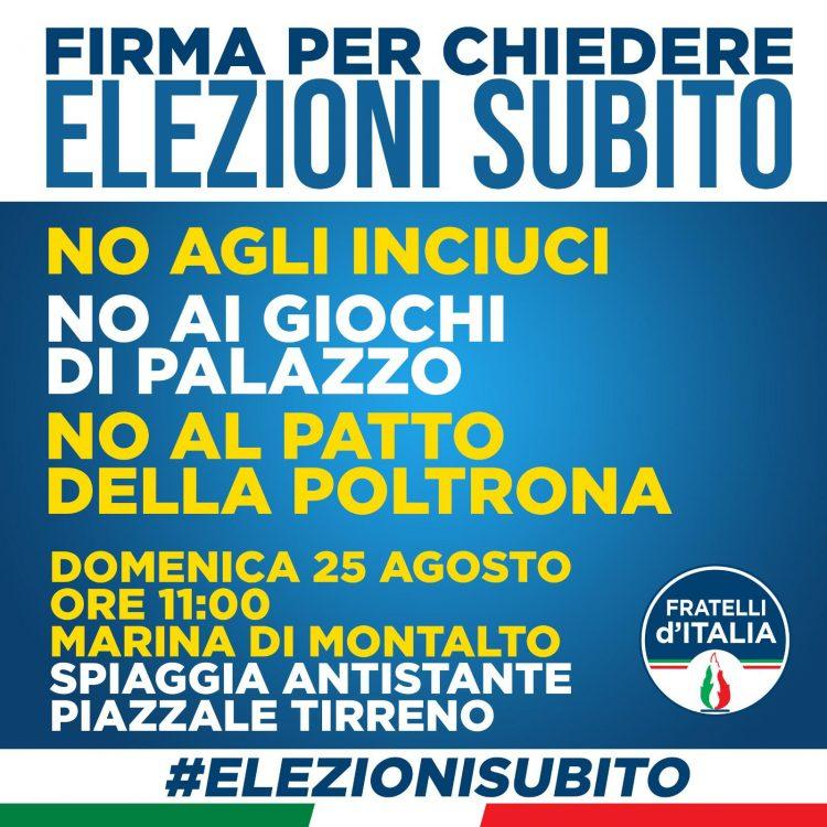 Elezioni subito, raccolta firme di Fratelli d'Italia a Montalto