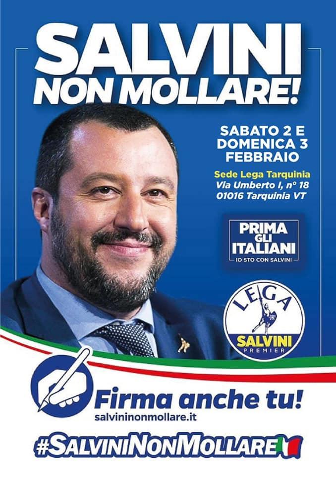 """Migranti, """"Salvini non mollare"""": la Lega Tarquinia raccoglie le firme"""