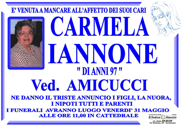 CARMELA IANNONE Ved. AMICUCCI di anni 97