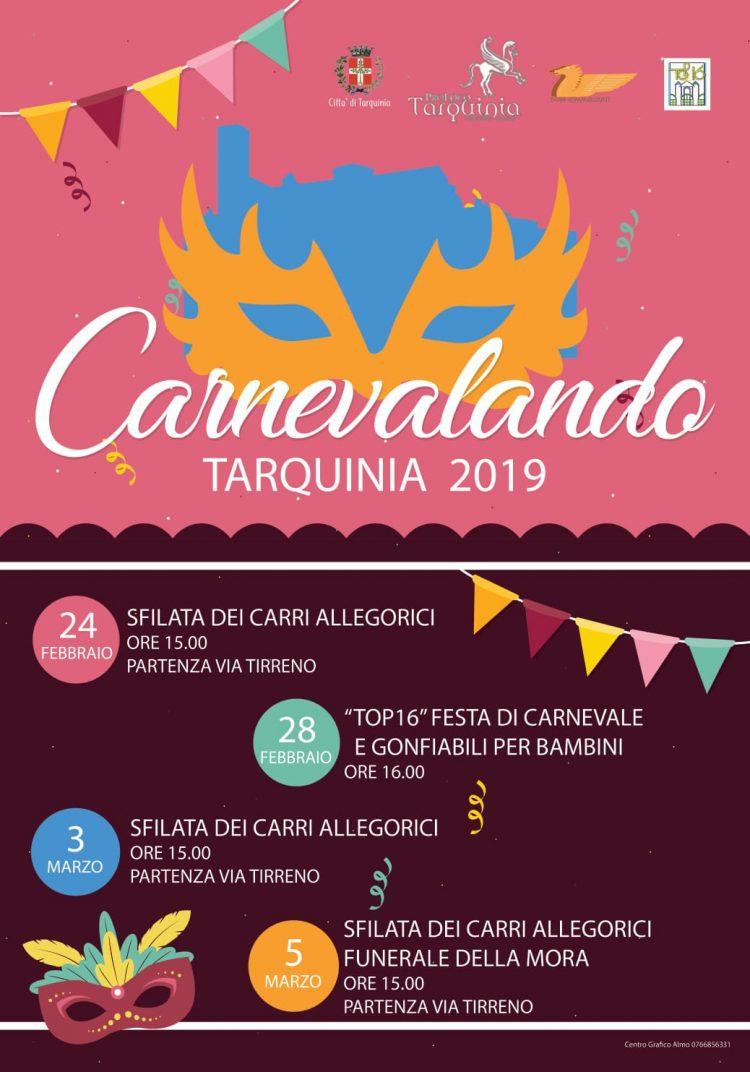 Carnevale, a Tarquinia quattro appuntamenti a partire da domenica