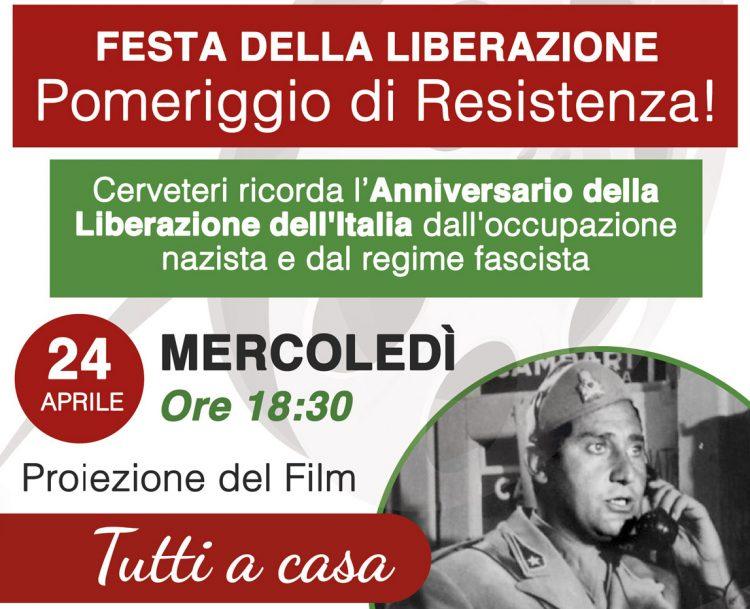 ''Pomeriggio di Resistenza'' con il film ''Tutti a casa!''