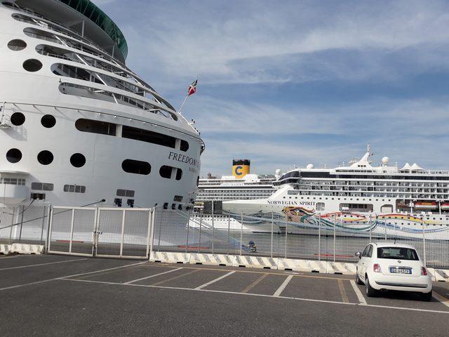 Meganavi in uscita dal porto (foto Riziero Cardinali)