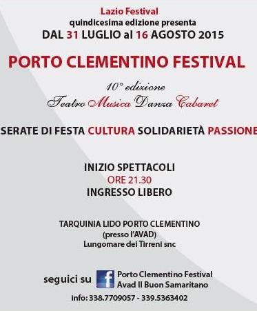 All'Avad la decima edizione del Porto Clementino festival
