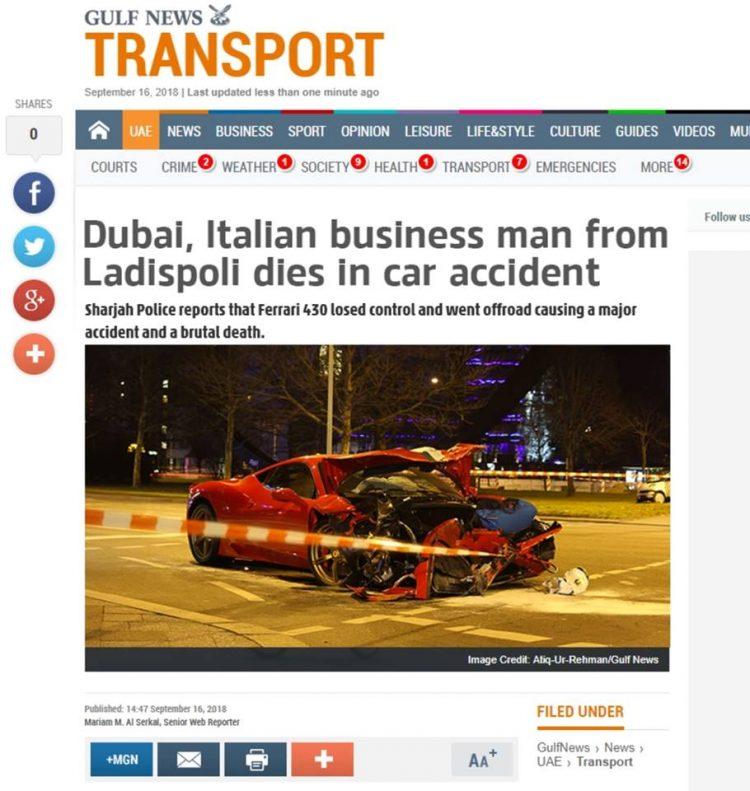 ''Imprenditore di Ladispoli perde la vita'', ma è una fake news