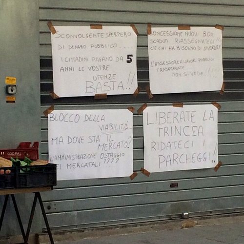 Mercato, spuntano nuovi cartelli
