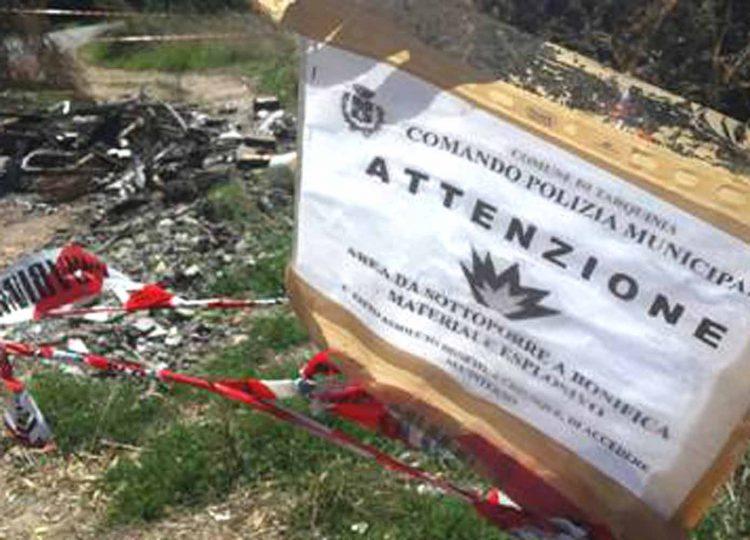Tarquinia, materiali esplosivi sulla strada provinciale Marina Velca