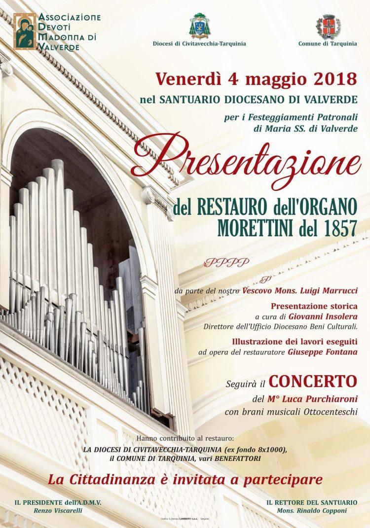 Tarquinia, chiesa di Valverde: torna a suonare l'organo Morettini