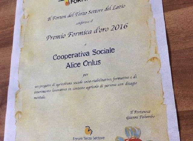 Premio Formica d'oro alla cooperativa Alice di Tarquinia