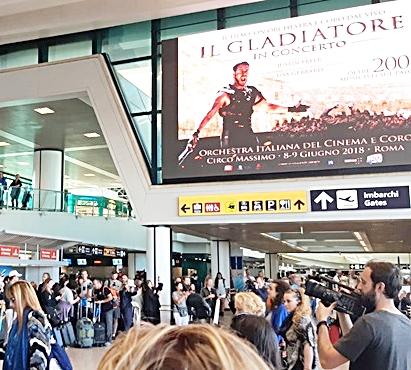 ''Il gladiatore'' sbarca a Fiumicino