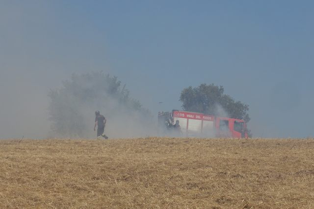 Via Tirso, in fiamme due ettari di sterpaglie