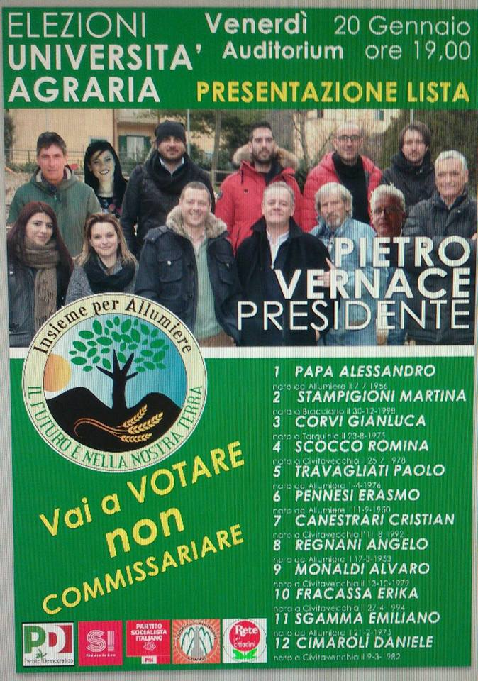 Pietro Vernace presenta la lista