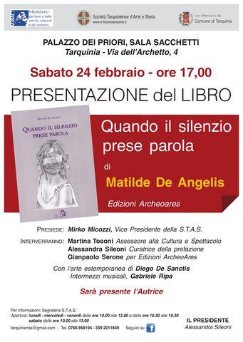 Stas Tarquinia, Matilde De Angelis presenta il suo primo libro: una raccolta di poesie