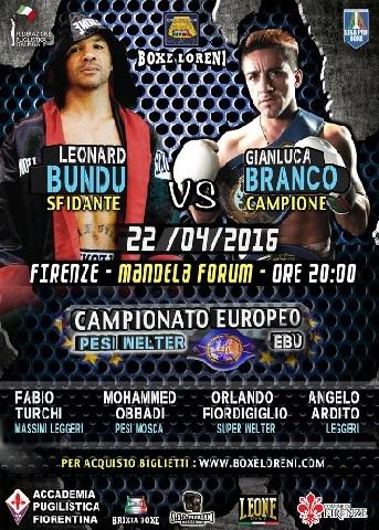Campionato europeo pesi welter: Branco vs Bundu il 22 aprile al Mandela Forum di Firenze