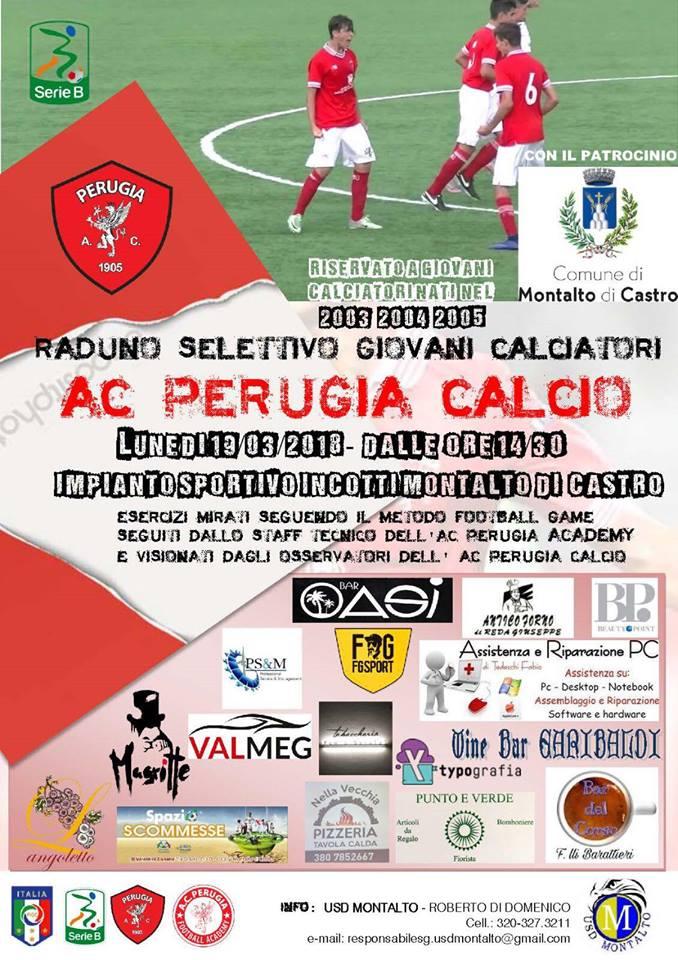 L'Usd Montalto al raduno selettivo dei giovani calciatori con il Perugia calcio