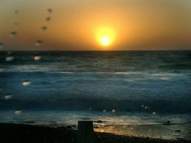 Onde e schizzi al tramonto (foto Pina Irato)