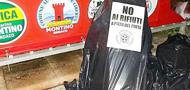 Casapound regala rifiuti a Montino
