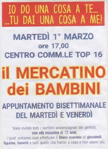 Al Top 16 di  Tarquinia il mercatino del libero scambio per bambini