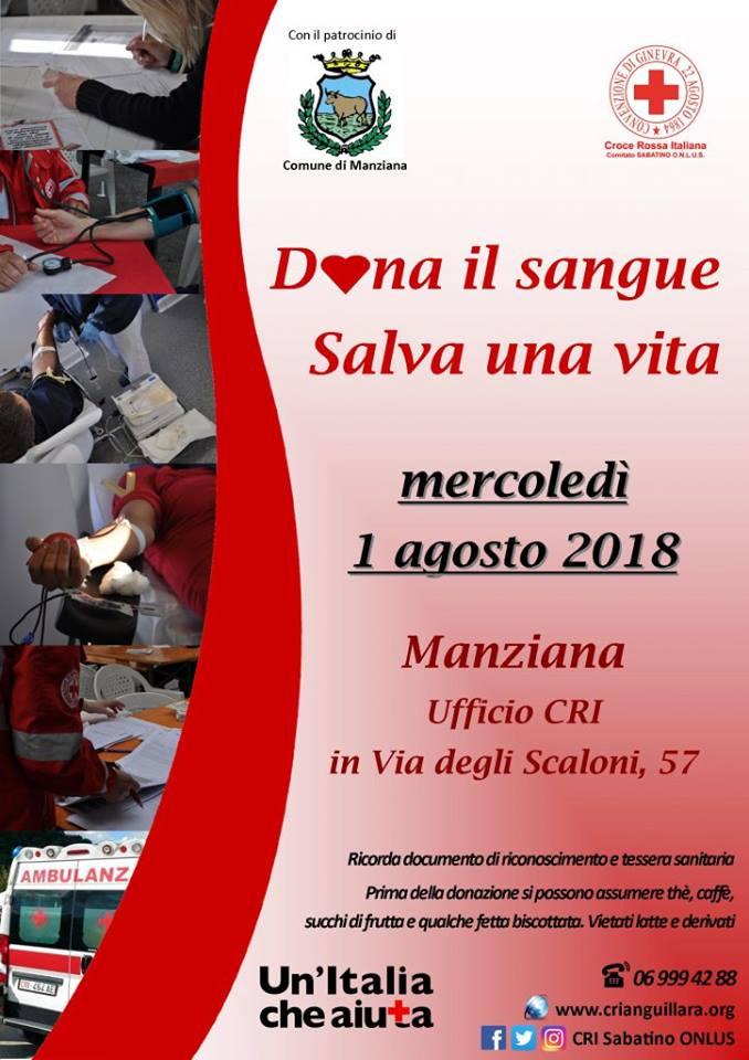 Manziana, l'1 agosto raccolta straordinaria di sangue