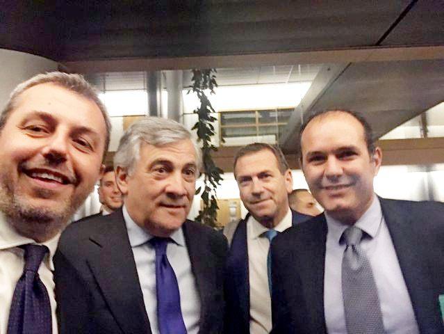 Il sindaco di Montalto Sergio Caci tra gli ospiti alla nomina di Tajani a presidente del Parlamento europeo