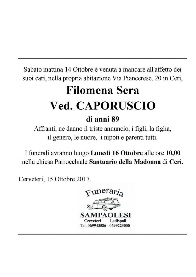 FILOMENA SERA Ved. CAPORUSCIO di anni 89