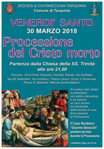 Tarquinia, stasera dalle 21 la Processione del Cristo morto