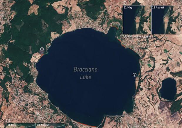 Dallo spazio si vede il lago  di Bracciano che si restringe