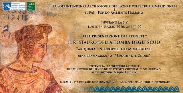 Tarquinia, al via il restauro della Camera centrale della Tomba degli Scudi
