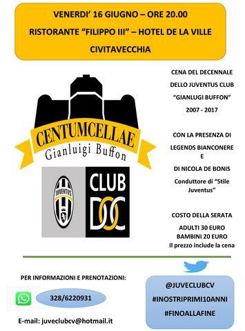 """Cena del decennale per lo Juventus Club """"Gianluigi Buffon"""""""