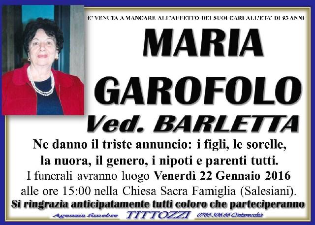 MARIA GAROFOLO ved. Barletta