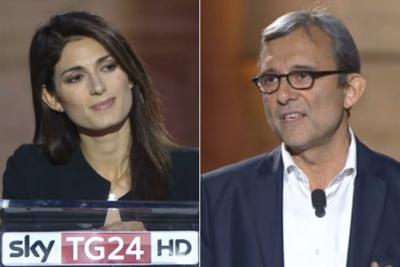 """Confronto a SkyTg24. Scintille Giachetti-Raggi: """"Cambi idea da una trasmissione all'altra"""""""