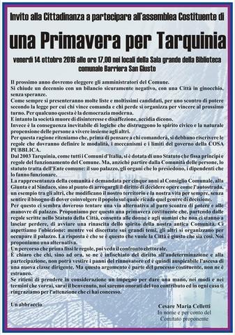 """Celletti: """"Una primavera costituente per Tarquinia''"""