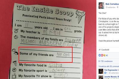 """""""Chi sono i miei amici? Nessuno"""", il compito di un bimbo di 11 anni commuove il web"""