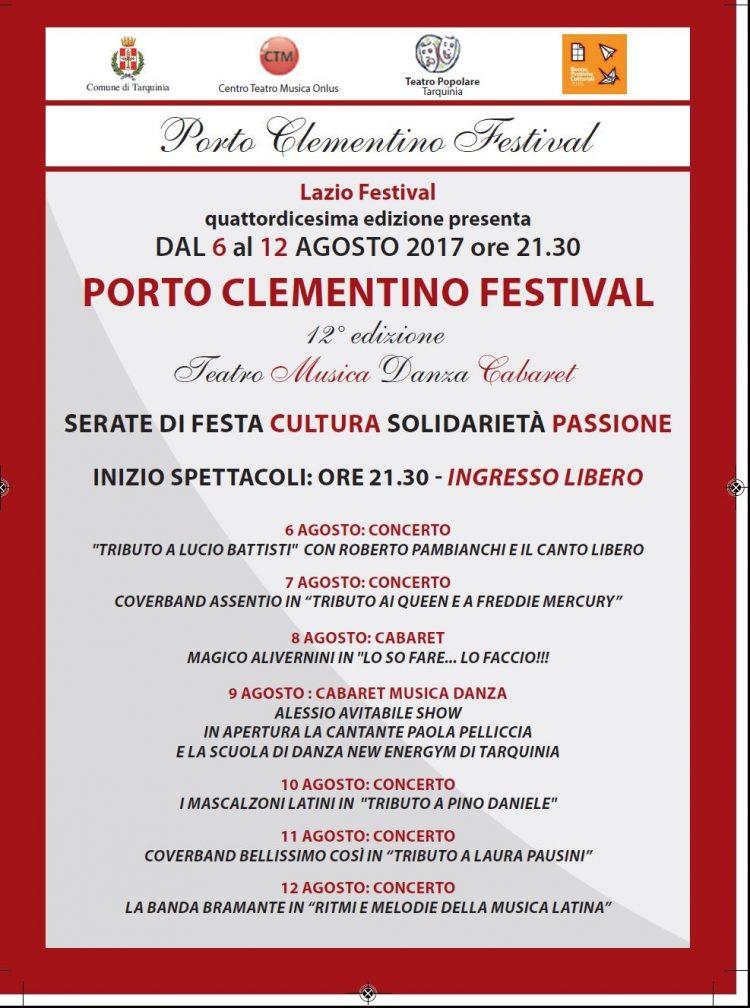 Tarquinia, partita la 12esima edizione  della kermesse Porto Clementino Festival