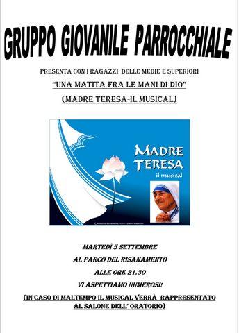 Stasera il musical ''La matita di Dio: madre Teresa''