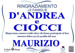 MAURIZIO D'ANDREA – Ringraziamento