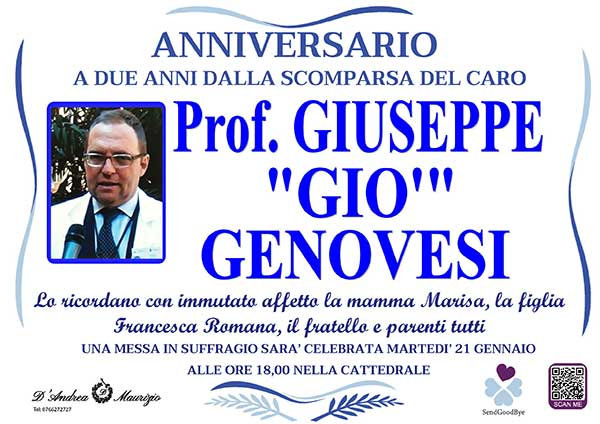 Prof. GIUSEPPE ''GIO'' GENOVESI – Anniversario