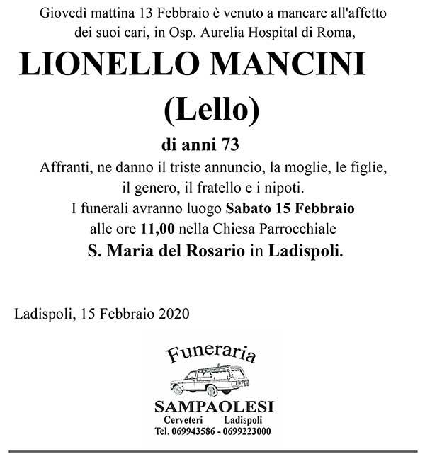 """LIONELLO MANCINI """"LELLO"""" di anni 73"""