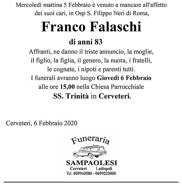 FRANCO FALASCHI di anni 83