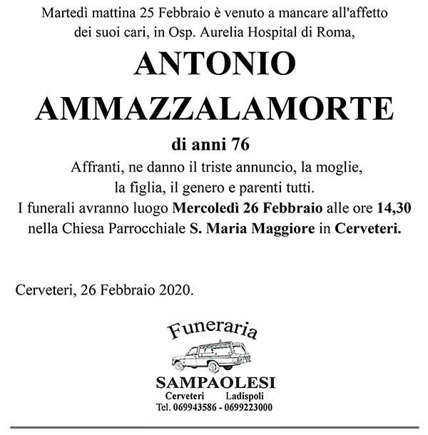 ANTONIO AMMAZZALAMORTE di anni 76