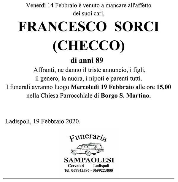 FRANCESCO SORCI (CHECCO) di anni 89