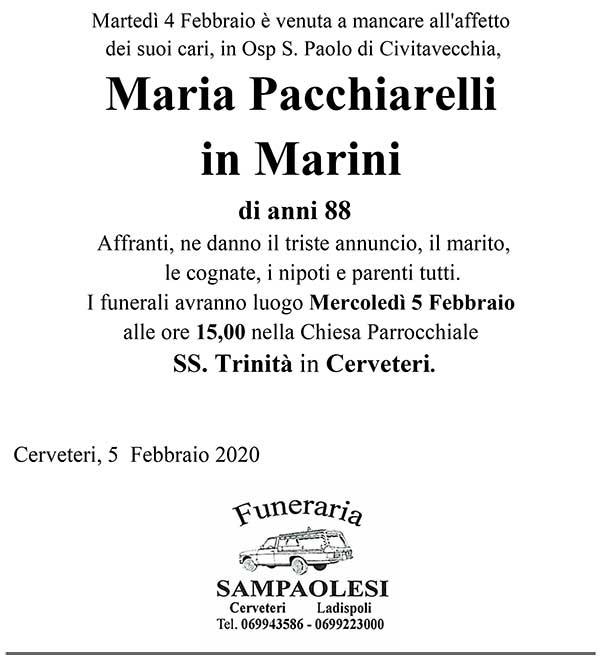 MARIA PACCHIARELLI in MARINI di anni 88