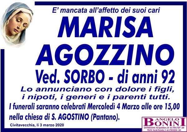 MARISA AGOZZINO Ved. SORBO di anni 92