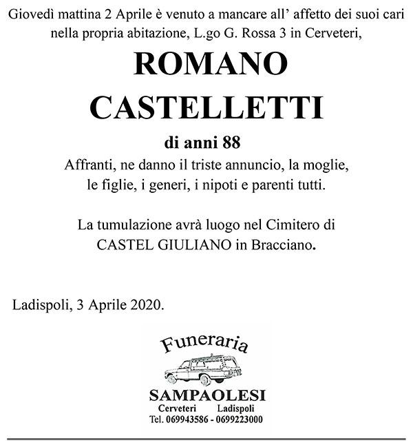ROMANO CASTELLETTI di anni 88