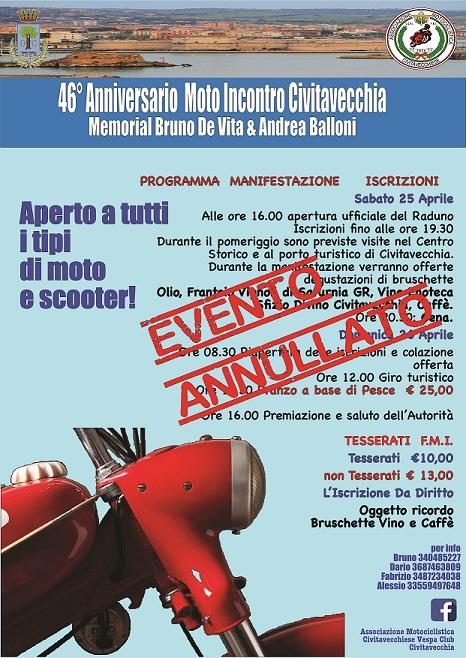Annullate le iniziative dell'Associazione Motociclistica e Vespa club