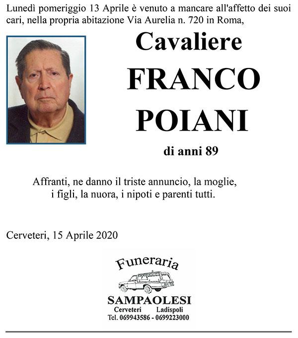 Cav. FRANCO POIANI di anni 89