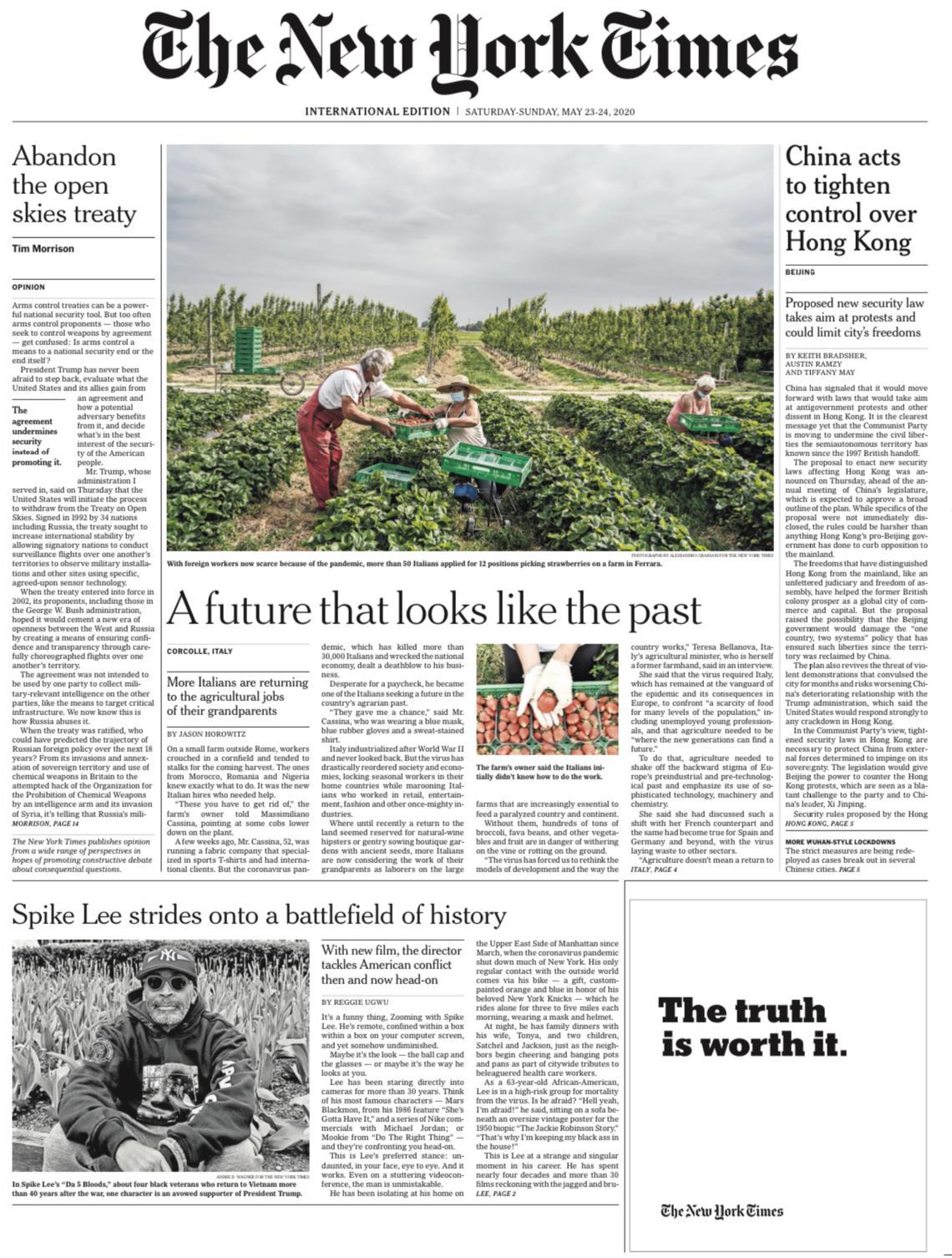 La Ministra Bellanova sulla prima pagina del New York Times